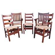 Great Antique Set of 5 Gustav Stickley Dining Chairs w7000