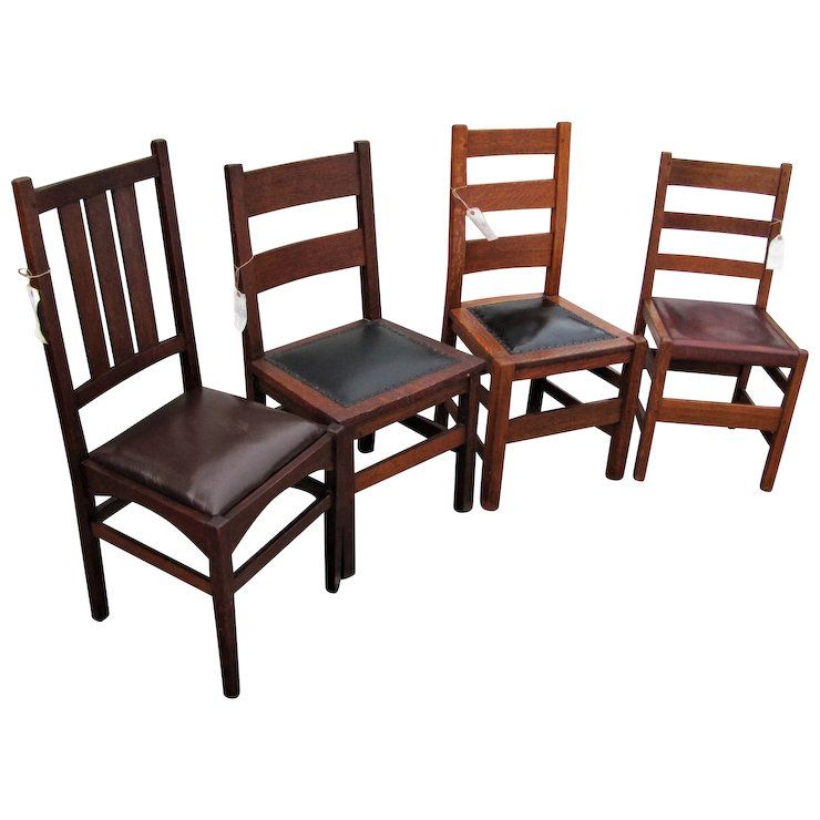 Antique Group of 4 Stickley Chairs w7777 - Antique Group Of 4 Stickley Chairs W7777 : Antique Mission Furniture
