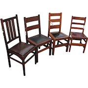 Antique Group of 4 Stickley Chairs  w7777