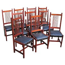 Antique Rare Set of 10 L&jG Stickley Spindle Back Chairs  w903