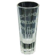 Advertising double shot glass Oklahoma Vinegar Fort Rock Ark.