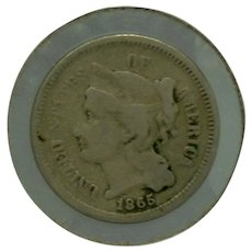 1865 Three Cent Nickel