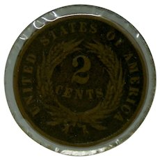 1865 US Two 2 Cent Coin
