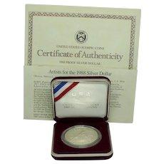 1988 U S Olympic Proof Silver Dollar