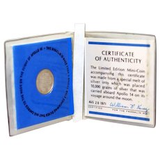 Silver Mini Coin Flown on Apollo 14 with Certificate