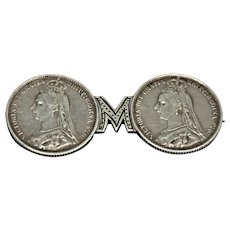 Pair 1889 Silver Six Pence Made into Brooch