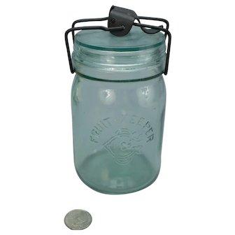 Aqua Fruit Keeper Bail Top Pint Canning Jar