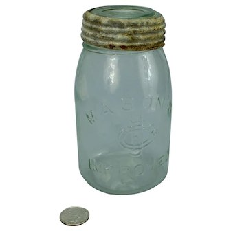 Masons Improved CFJCo Pint Fruit Canning Jar in Light Green