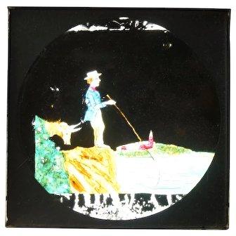 "Magic Lantern Glass Comic Slide ""Fishing with My Goat"""