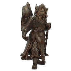 Japanese Carved Wood Samurai Temple Guard Many Eyes