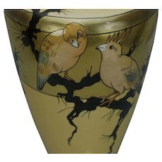 Large Willets American Belleek Vase Bird and Floral Decorated