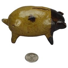 Small Yellow Slipware Glazed Pottery  Piggy Pig Dime Bank Hand Made