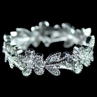 Vintage 14K 0.12 Cttw Diamond Floral Motif Flower Eternity Stackable Ring Size 6 White Gold