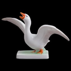 Herend White Goose Bird With Open Wings