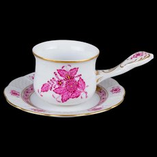 Herend Chinese Bouquet Raspberry Chocolate Cup with Underplate, 2 Pieces