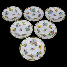 Set of Six Herend Queen Victoria Salad or Dessert Plates, 6 Pieces
