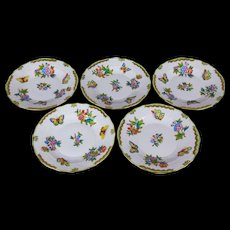 Set of Five Herend Queen Victoria Large Appetizer Plates, 5 Pieces