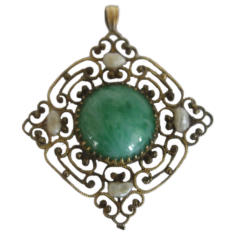 Gold Filled Filigree Pendant With Green Stone and Fresh Water Pearls