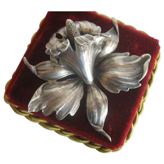 Large Sterling Silver Iris Pin/Brooch Designed by G. Cini for Gump's