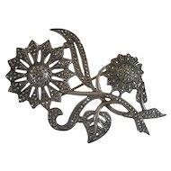 Sterling Silver Marcasite Flower Pin/Brooch