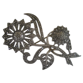 Sterling Silver Marcasite Flower Pin/Brooch