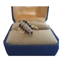 10KP Yellow Gold Ring With Sapphires and Diamonds