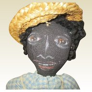 Captivating  Folk art black hand painted doll