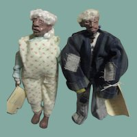 Charming primitive sculpted Black couple one of  a kind