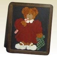 Adorable Teddy bear painted on blackboard