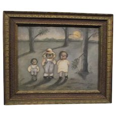 Adorable painting of three black children by Norma Schneeman