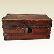 Vintage Paper Covered Wood Doll Trunk
