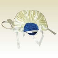 Large Hat blue velvet and white gathered satin