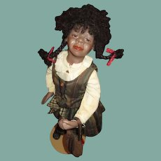 Charming African American black bisque doll