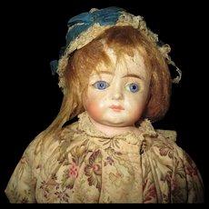 Gorgeous closed mouth  paper mache Antique doll
