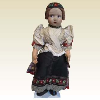 Sweet molded cloth face doll
