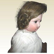 Antique Rams horn human hair wig