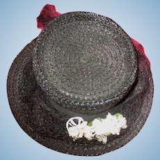 Great old large straw doll hat