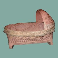 Adorable vintage  wicker doll cradle