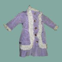 Beautiful satin French pattern small  doll dress