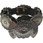 Vintage Suzie James NAVAJO Sterling Silver Leather Concho Belt