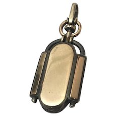 Rare Victorian 10kt Gold and 800 Silver Watch Fob Locket Pendant Unisex