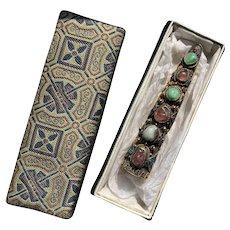 Vintage Chinese export gilt 900 Silver Filigree Nail Guard Brooch