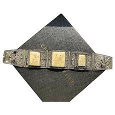 Vintage Chinese Export Silver over Copper Bone Scrimshaw Bracelet