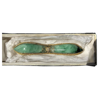 Vintage Chines Export Gilt filigree with Jade silver Brooch