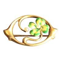 14k gold Art Nouveau Pearl & Enamel Shamrock Pin