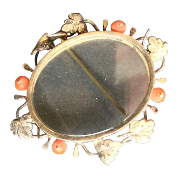 14k multi Color Gold & Coral Bead Reliquary Keepsake Brooch