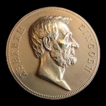 Rare French Gilt, American Copper Lincoln Commemorative
