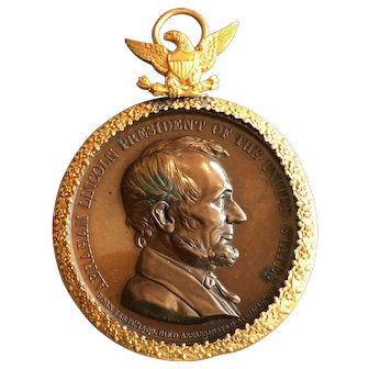 Early Lincoln Commemorative Gilt Surround c1865