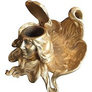 French Gilt, Bronze Doré Art Nouveau Ink Well