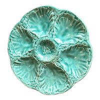 Gien French Aqua Colour Majolica Oyster Plate